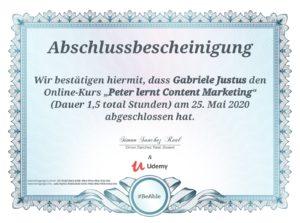 Zertifikat Udemy-Kurs - Peter lernt Content Marketing - Kursdauer 1,5 Stunden