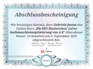 Zertifikat Udemy-Kurs - SEO Masterclass: Suchmaschinenoptimierung von A-Z - Kursdauer 14 Stunden