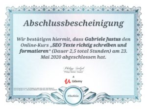 Zertifikat Udemy-Kurs - SEO-Texte richtig schreiben und formatieren - Kursdauer 2,5 Stunden