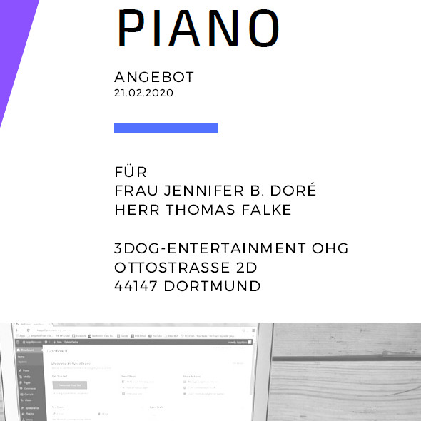 Projekt Website-Redesign - Bildausschnitt Titelseite Angebot Webdesign