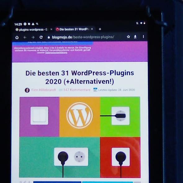 Projekt Eigene Website - Screenshot Tablet - Recherche WordPress-Plugins