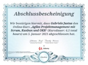 Zertifikat Udemy-Kurs - Agiles Projektmanagement - Kursdauer 6,5 Stunden