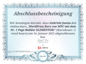Zertifikat Udemy-Kurs - WordPress WPC - Kursdauer 5 Stunden